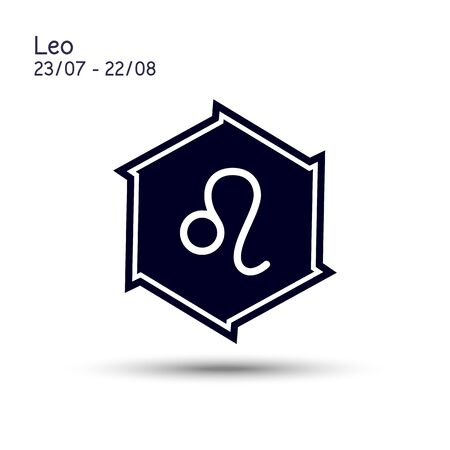 Leo zodiac sign in a six pointed star with sharp edges. Icon flat design. Astrology symbol isolated on white background. Illustration