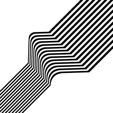 Black and white diagonal stripes isolated on background. Abstract optical art graphics. Vector illustration for your design.
