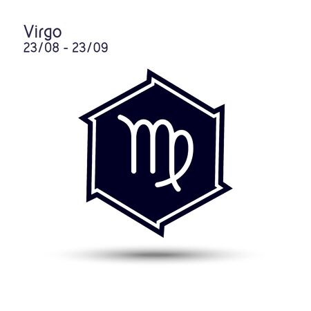 Virgo zodiac sign in a six pointed star with sharp edges. Icon flat design. Astrology symbol isolated on white background. Vector 6 point star.