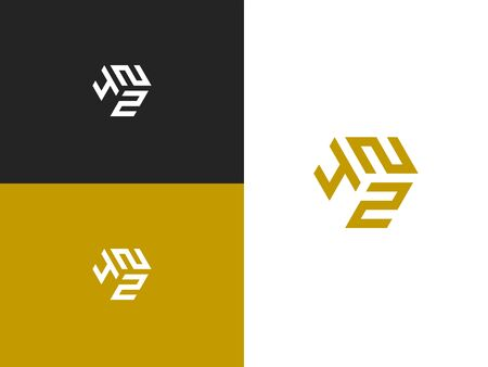 Combined number 422, vector element of the icon template. Set of numbers can be used as a city birthday or as a sports number for competitions. Simple creative geometric sign. Emblem for your design. Çizim