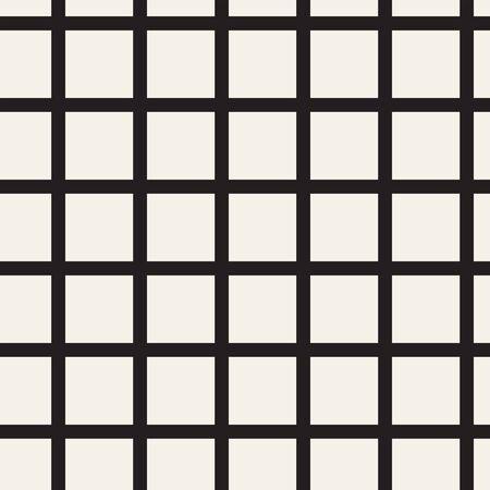 Streszczenie mozaiki siatki, tło siatki z kwadratowymi kształtami. Bezproblemowo powtarzalny. Krata, wzór kratowy. Element projektu czarno-biały. Prosta ilustracja wektorowa do projektowania.