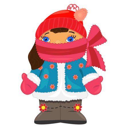 kid on winter vacation. vector illustration. isolated character