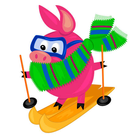 pig skiing.isolated character.vector Stock Vector - 11246323