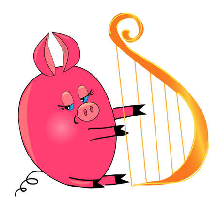 baby playing toy: pig playing music instrument.vector illustration