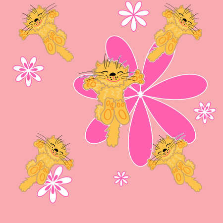 cute floral and pet vector illustration. seamless background Vector