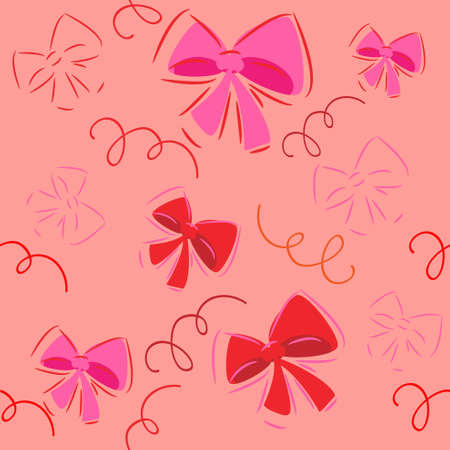 cute bow decorations.vector background.seamless texture Vector