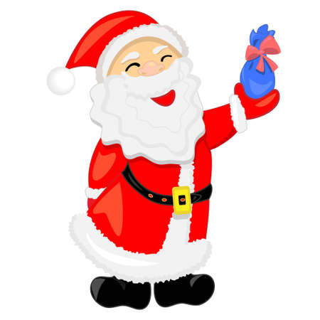 nicholas: santa claus with gift.vector illustration.isolated character