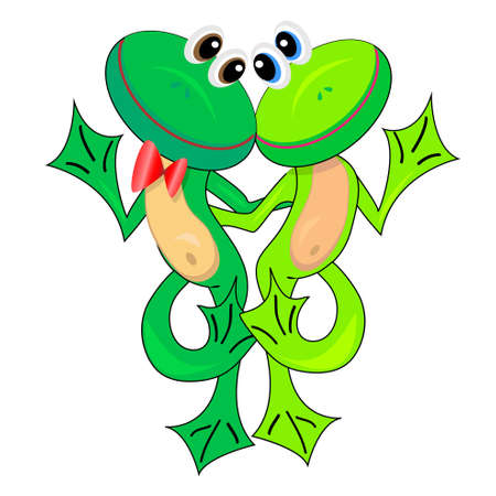 amphibian: couple of cute frogs in love.vector illustration.isolated character.none background Illustration