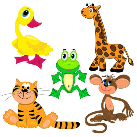 set of zoo animals.vector illustration. cute characters.isolated on white background Vector
