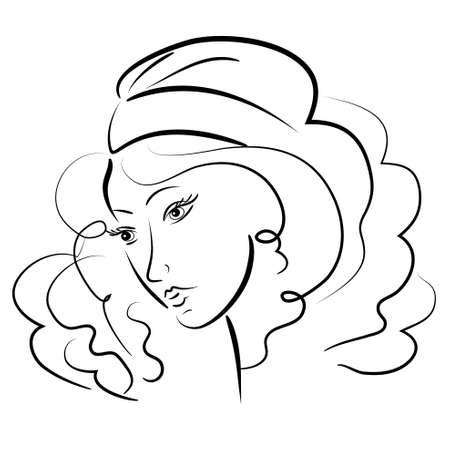 美しい少女の肖像画。ベクトル illustration.isolated 顔
