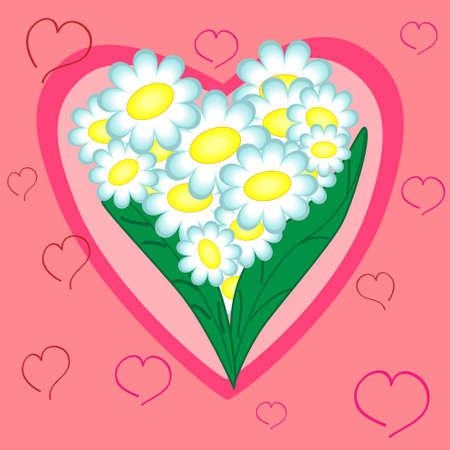 pinky: floral heart.valentine holiday card.vector illustration