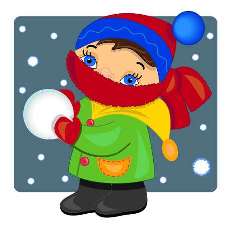 palle di neve: bambino che gioca con sfondo snow.vector inverno illustration.outdoor