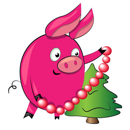 pig decorating christmas tree.vector illustration and drawing.isolated character on white background Illustration