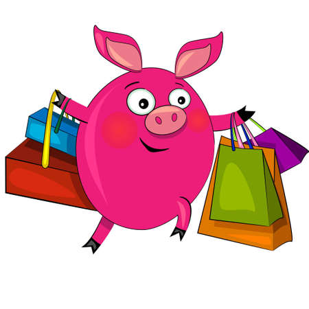 pig on fashion shopping. vector illustration.character isolated Vector