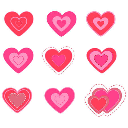 seasonal symbol: valentines day heart set. vector illustration.isolated objects