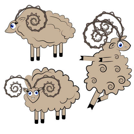 sheep eye: dancing sheep vector illustration. animal set.isolated characters on white background