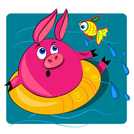 pig swimming in ocean.vector illustration with water background.cute character Vector