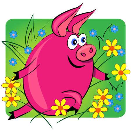 pig running on floral background.cartoon animal card.vector  Vector