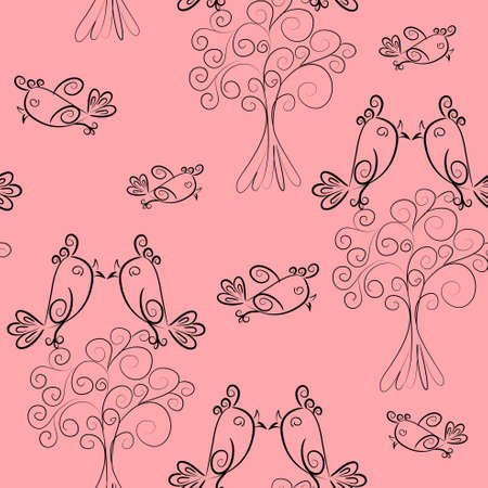 bird scroll outline seamless pattern.cute texture Vector