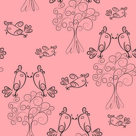 bird scroll outline seamless pattern.cute texture Vector
