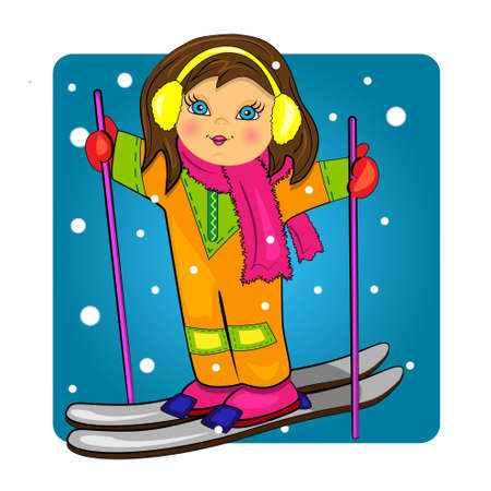 kid skiing on snowy background.vector cute illustration.sport girl drawing Vector
