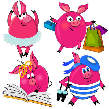 pig set vector illustration.cute animal isolated characters Vector