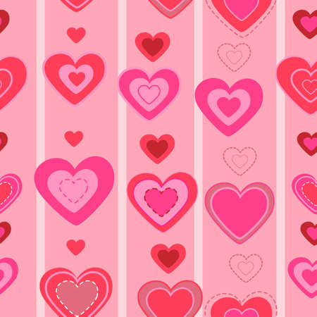 valentines day seamless pattern. vector heart background.cute texture Illustration