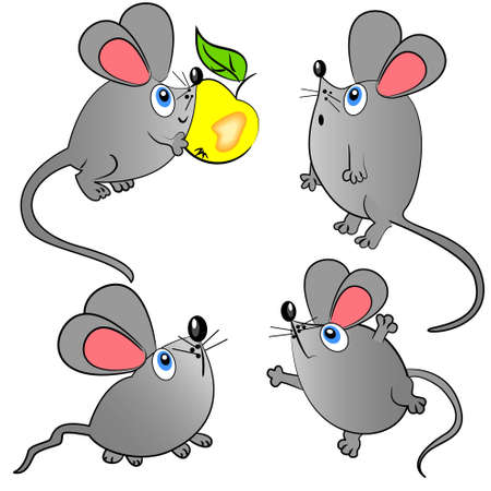 mickey: mouse vector set. isolated animals illustration