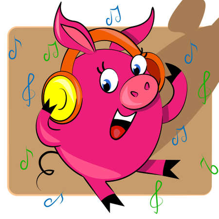 piggy listening music vector illustration. cartoon animal Vector