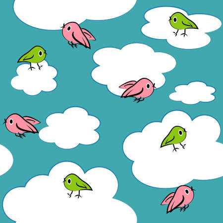 cartoon birds in sky seamless pattern. clouds texture and background Vector
