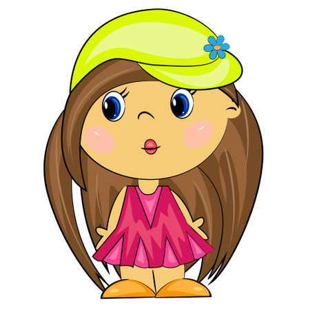 cartoon girl  vetor brunette kid  Vector