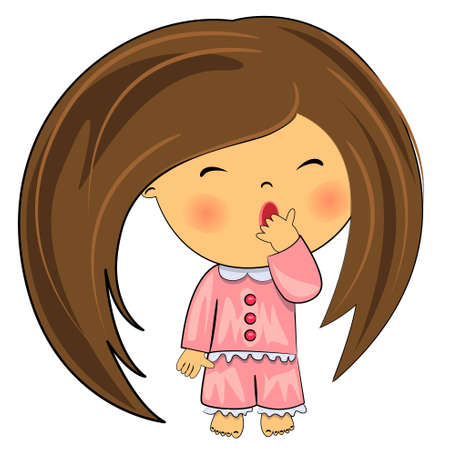 good night: yawning kid  cute little girl  Illustration