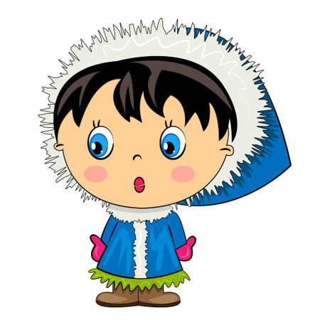 cartone animato ragazza ragazzino carattere bambino isolato Vettoriali