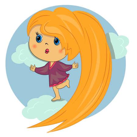 dulce niña en el cielo. niño hermoso cabello