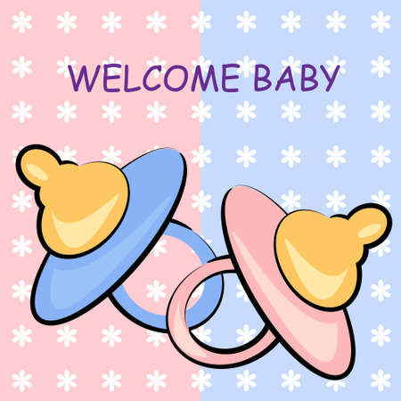 dummies: welcome baby card. pacifier birthday illustration