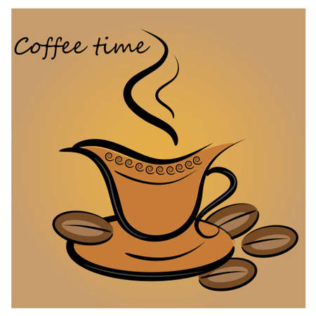 lunch break: coffe cup background. beverage card