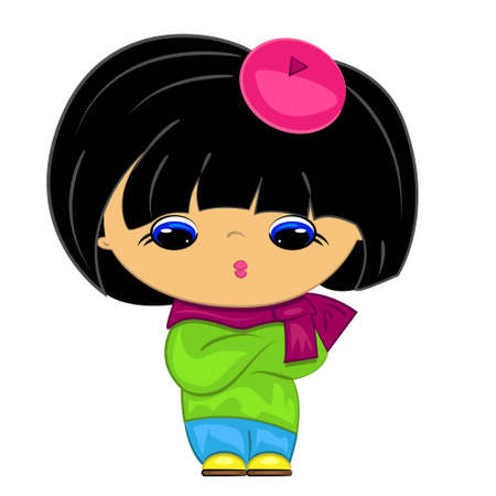 asian family: little girl. cartoon kid