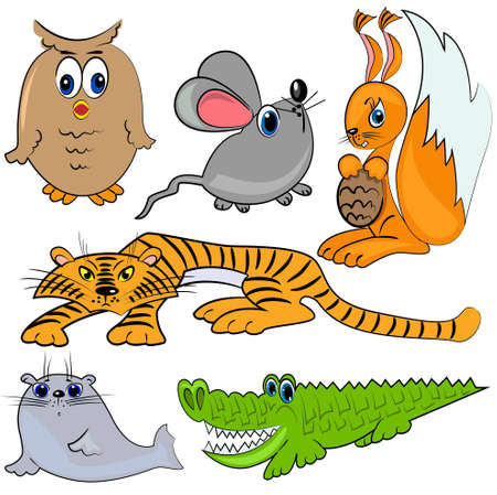 zoo animals. cartoon mammal animals Vector