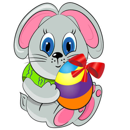 easter bunny with paited egg. spring holiday illustration