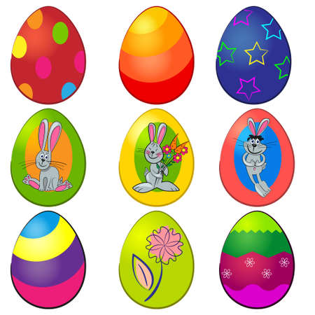 easter painted egg set. easter decorations collection Vector