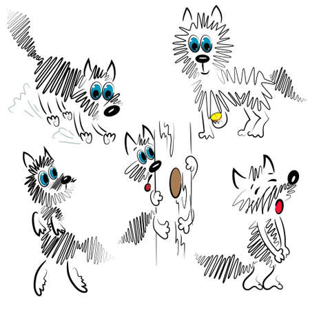 cartoon dog set. graphic dog illustration Vector