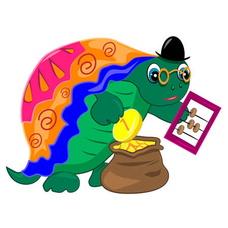 counting money: cartoon turtle banker counting money finance illustration