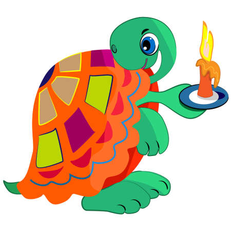 colourful fire: cartoon turtle holding candle  cute reptile