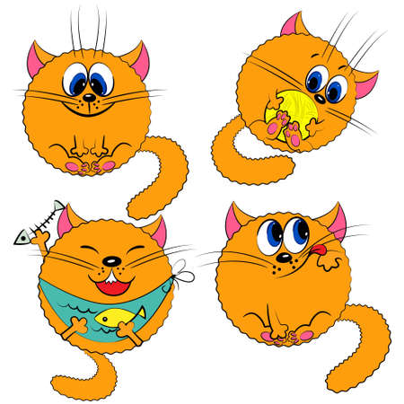 cartoon cat set  kitty collection Vector