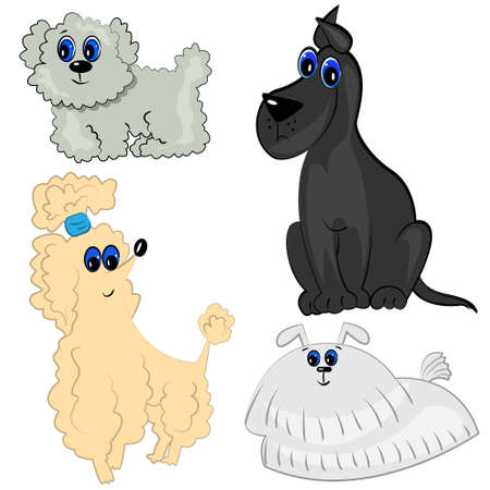 cartoon dog set  breed collection Vector