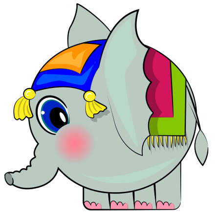 cartoon elephant isolated character  cute animal Vector