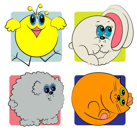 animal zoo set  cartoon animal collection Vector