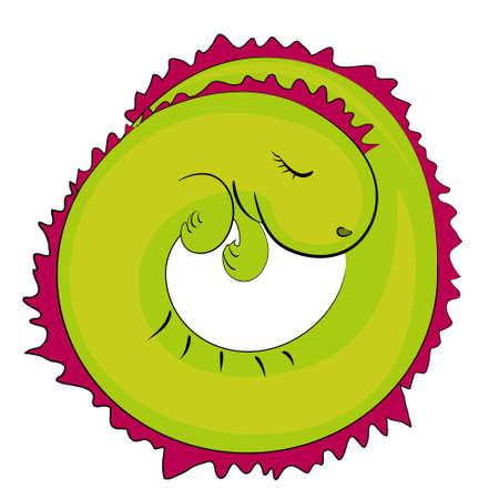sleeping reptile icon. cartoon dragon illustration Vector