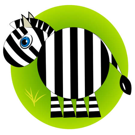 cartoon zebra zoo. wild mammal animal on grass  Vector