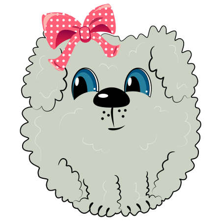 cartoon dog with bow. pet illustration  Vector
